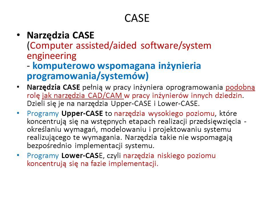 CASE Narzędzia CASE (Computer assisted/aided software/system engineering - komputerowo wspomagana inżynieria programowania/systemów)