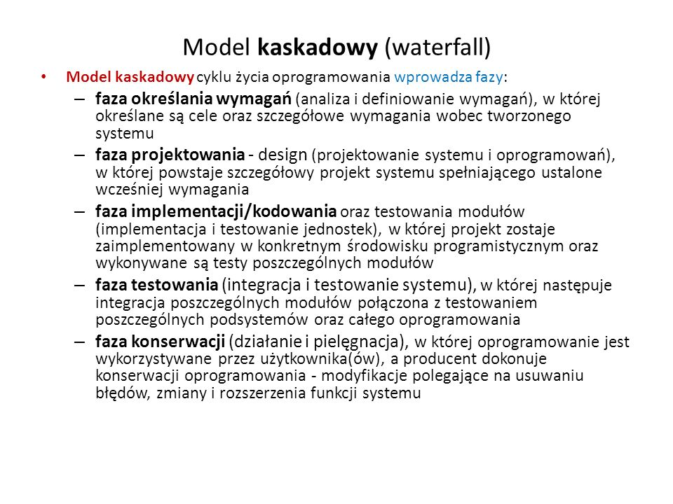 Model kaskadowy (waterfall)