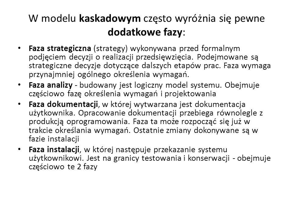 W modelu kaskadowym często wyróżnia się pewne dodatkowe fazy:
