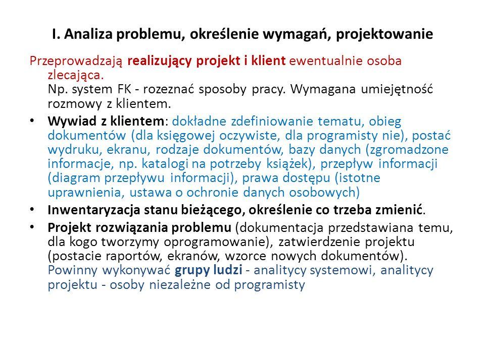 I. Analiza problemu, określenie wymagań, projektowanie