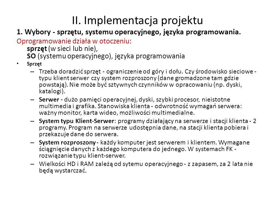 II. Implementacja projektu