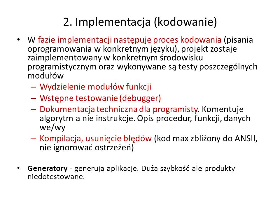 2. Implementacja (kodowanie)
