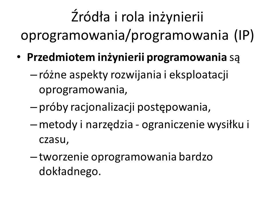Źródła i rola inżynierii oprogramowania/programowania (IP)