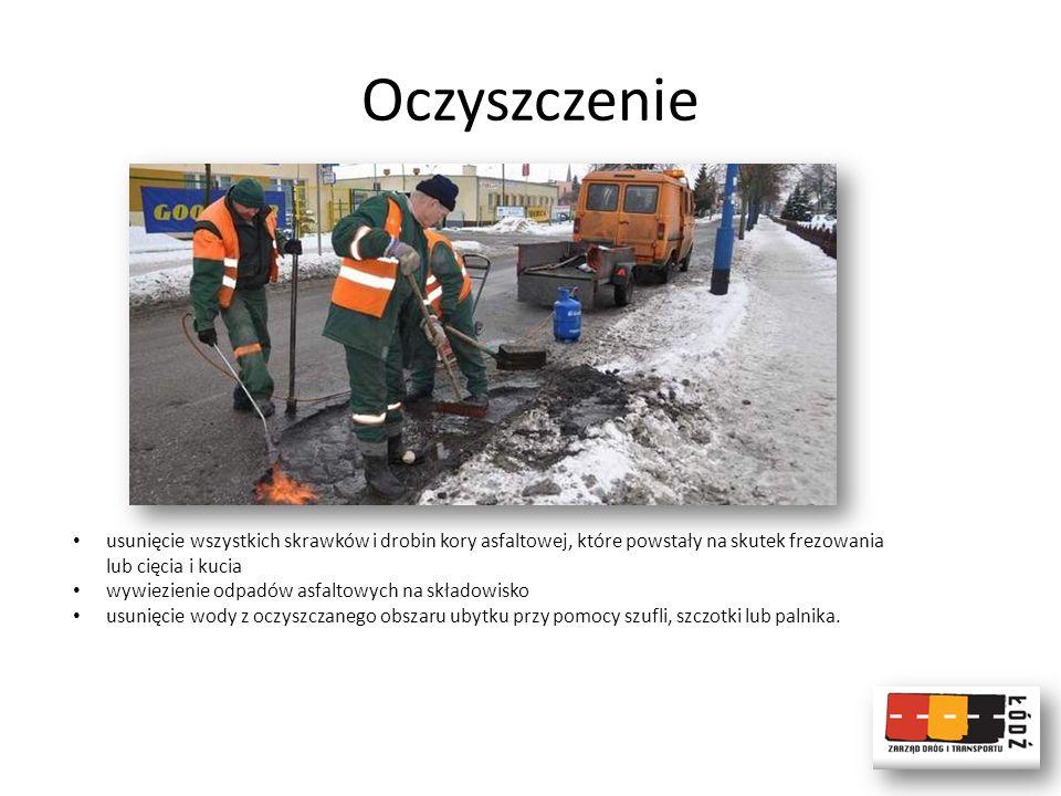 Oczyszczenie usunięcie wszystkich skrawków i drobin kory asfaltowej, które powstały na skutek frezowania lub cięcia i kucia.
