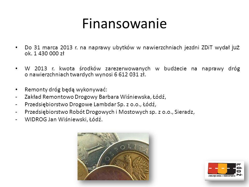 Finansowanie Do 31 marca 2013 r. na naprawy ubytków w nawierzchniach jezdni ZDiT wydał już ok. 1 430 000 zł.