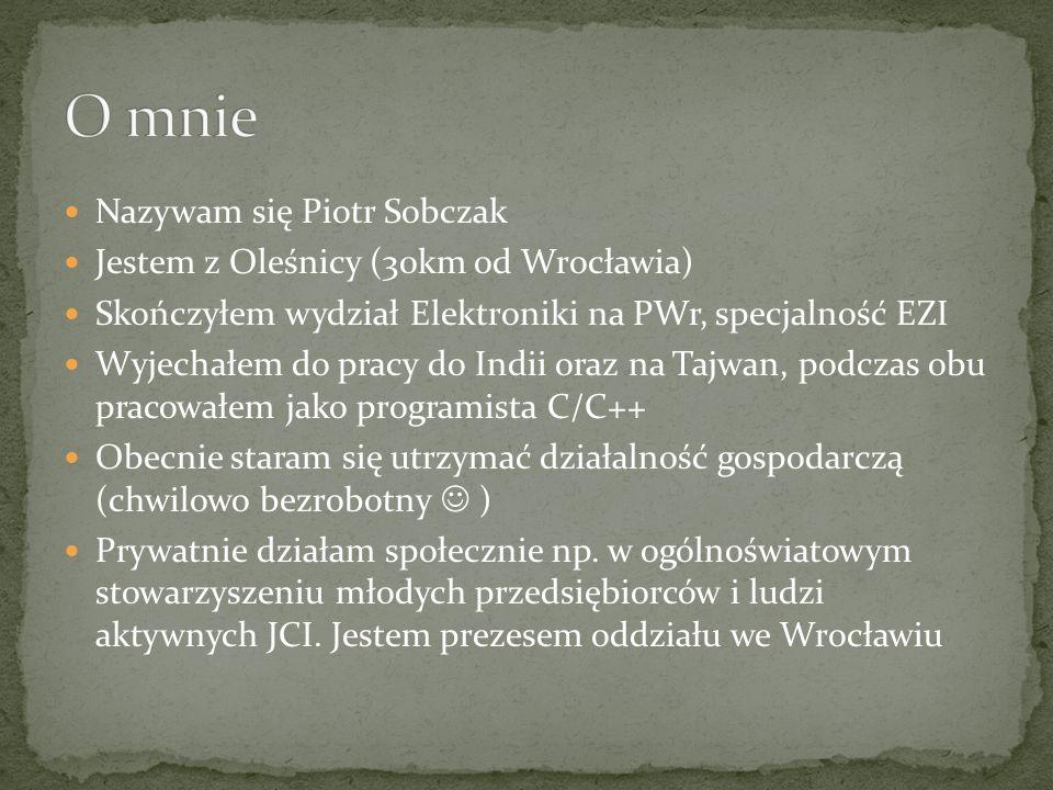 O mnie Nazywam się Piotr Sobczak Jestem z Oleśnicy (30km od Wrocławia)