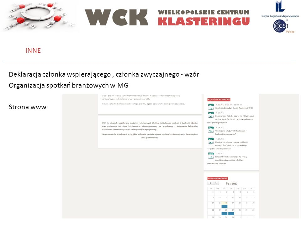 INNE Deklaracja członka wspierającego , członka zwyczajnego - wzór Organizacja spotkań branżowych w MG Strona www