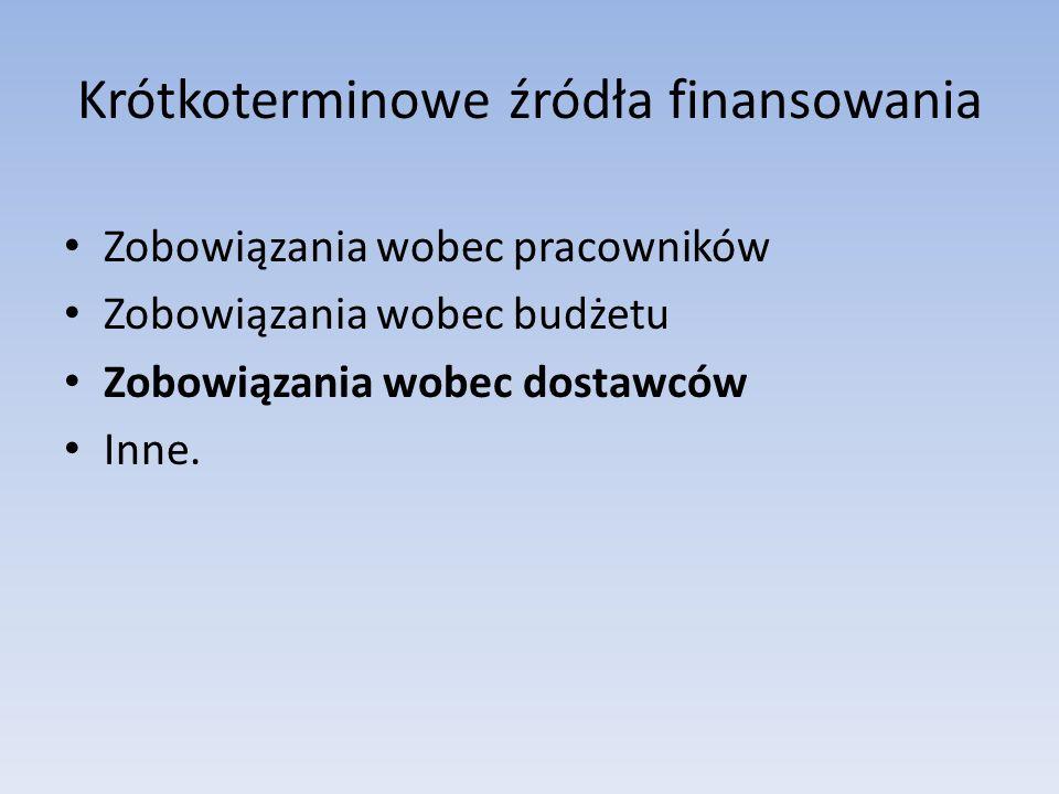 Krótkoterminowe źródła finansowania