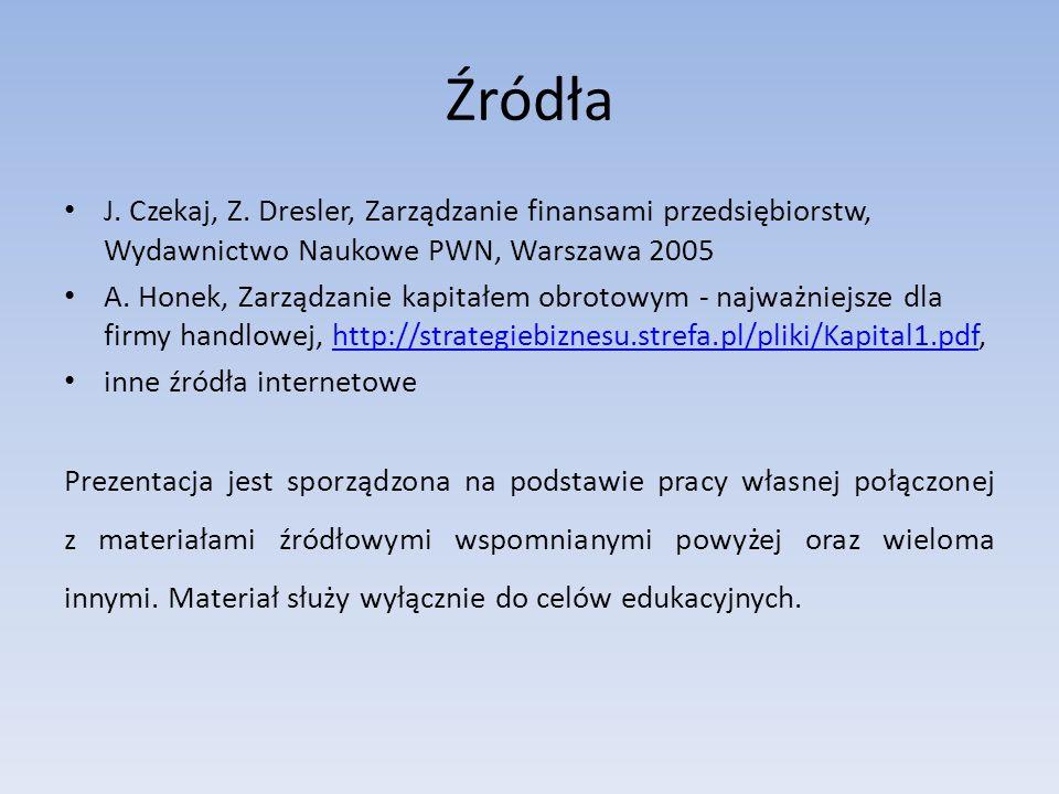 Źródła J. Czekaj, Z. Dresler, Zarządzanie finansami przedsiębiorstw, Wydawnictwo Naukowe PWN, Warszawa 2005.