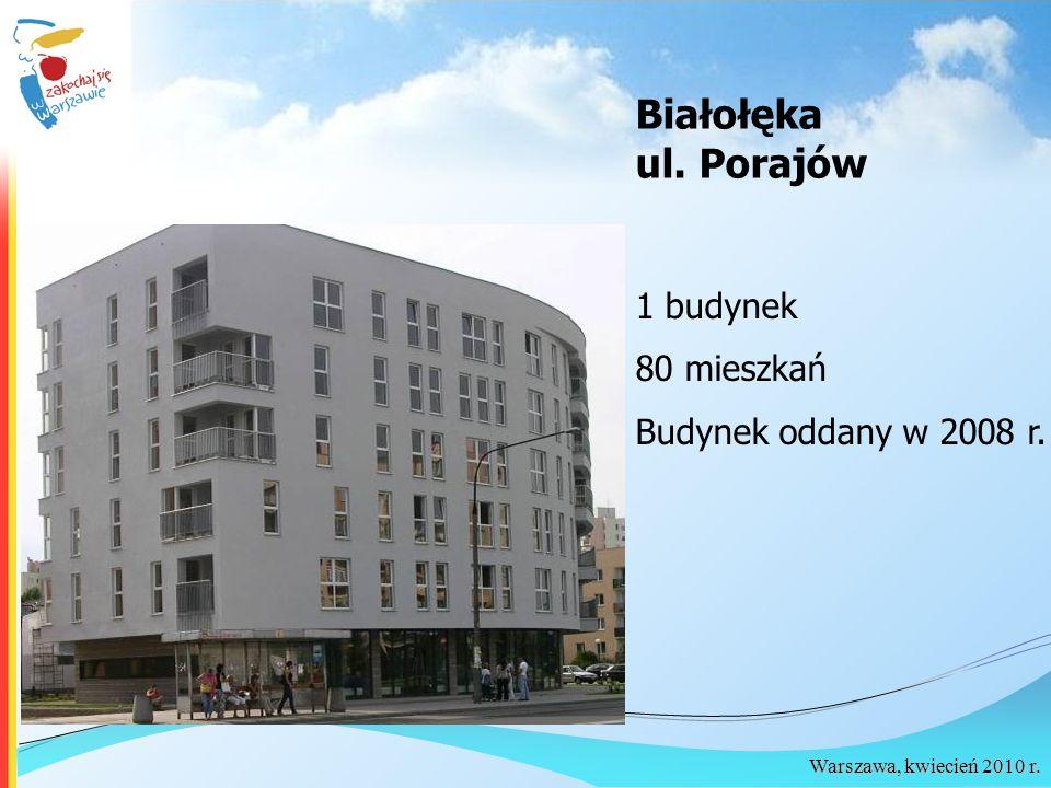 Białołęka ul. Porajów 1 budynek 80 mieszkań Budynek oddany w 2008 r.