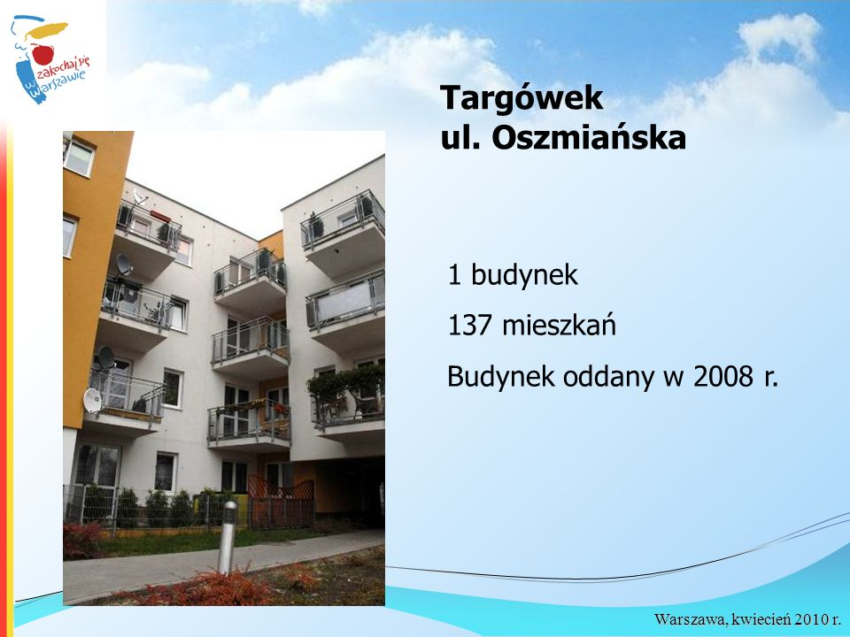 Targówek ul. Oszmiańska 1 budynek 137 mieszkań