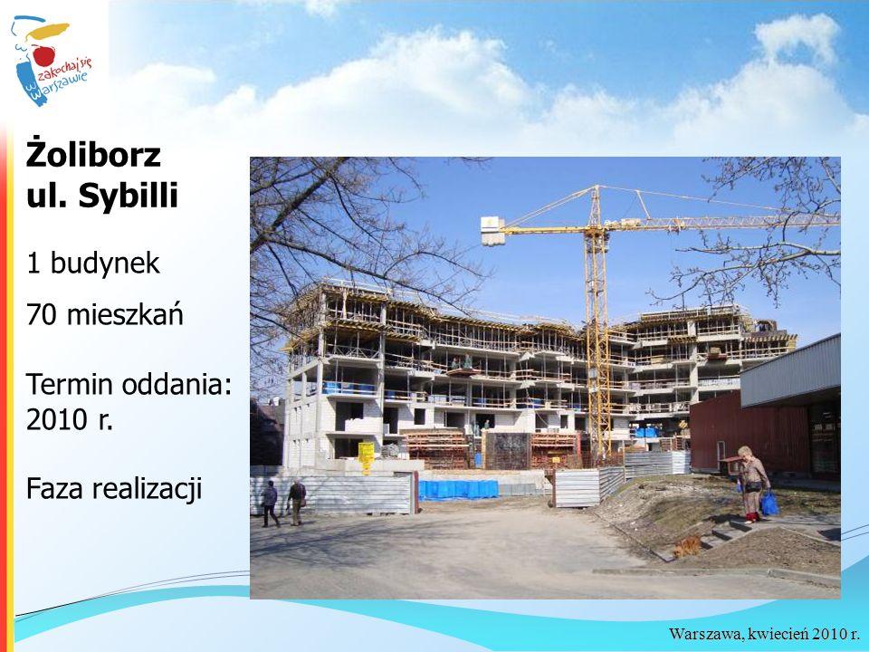 Żoliborz ul. Sybilli 1 budynek 70 mieszkań Termin oddania: 2010 r.