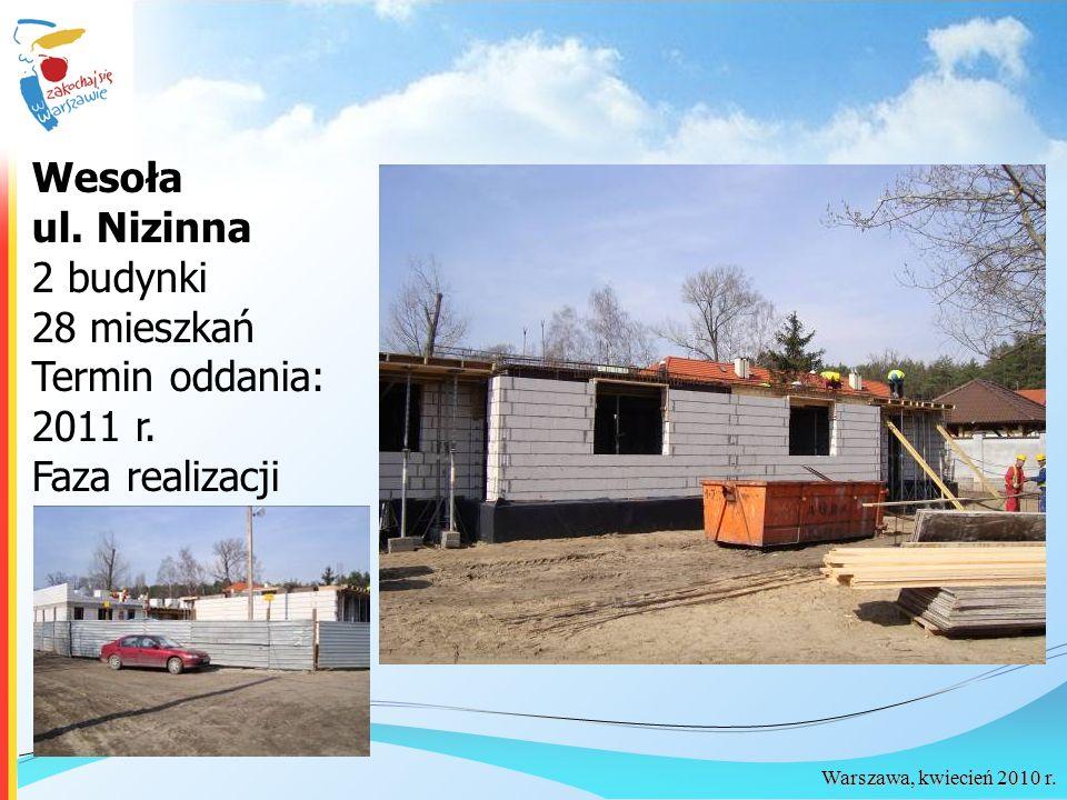 Wesoła ul. Nizinna 2 budynki 28 mieszkań Termin oddania: 2011 r. Faza realizacji