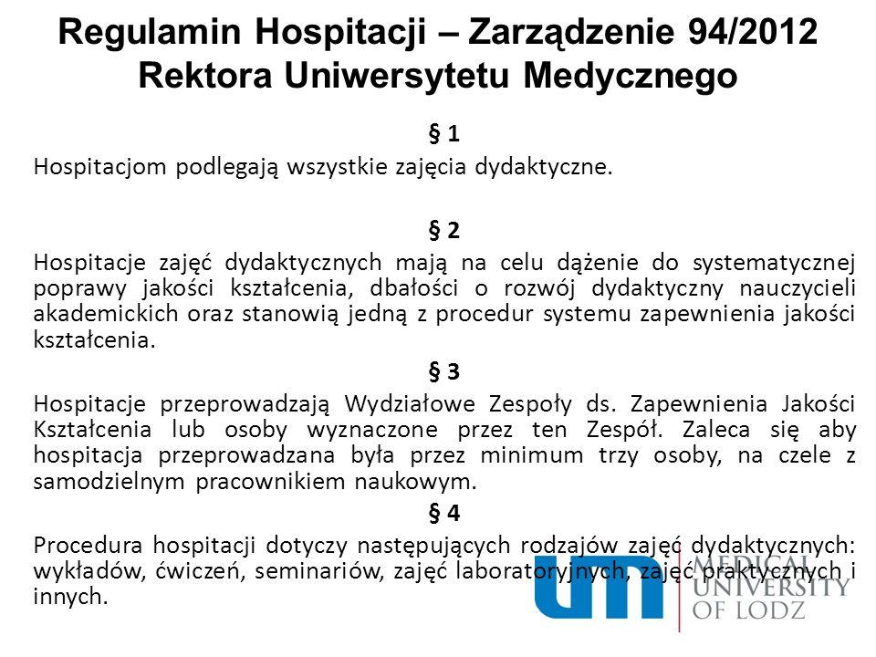 Regulamin Hospitacji – Zarządzenie 94/2012 Rektora Uniwersytetu Medycznego