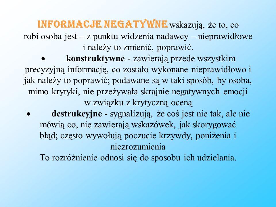 Informacje negatywne wskazują, że to, co robi osoba jest – z punktu widzenia nadawcy – nieprawidłowe i należy to zmienić, poprawić.