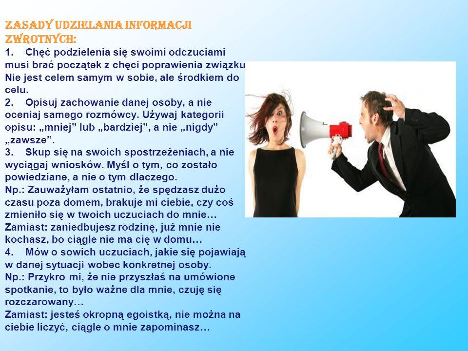 Zasady udzielania informacji zwrotnych: 1