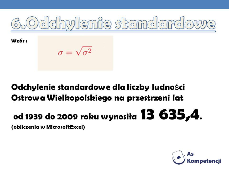 Wzór : Odchylenie standardowe dla liczby ludności Ostrowa Wielkopolskiego na przestrzeni lat. od 1939 do 2009 roku wynosiła 13 635,4.