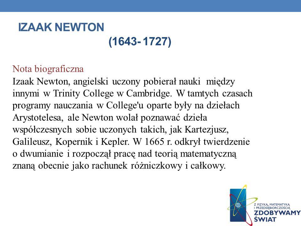 Izaak Newton (1643- 1727) Nota biograficzna