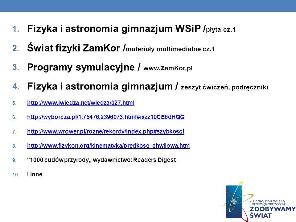 Fizyka i astronomia gimnazjum WSiP /płyta cz.1