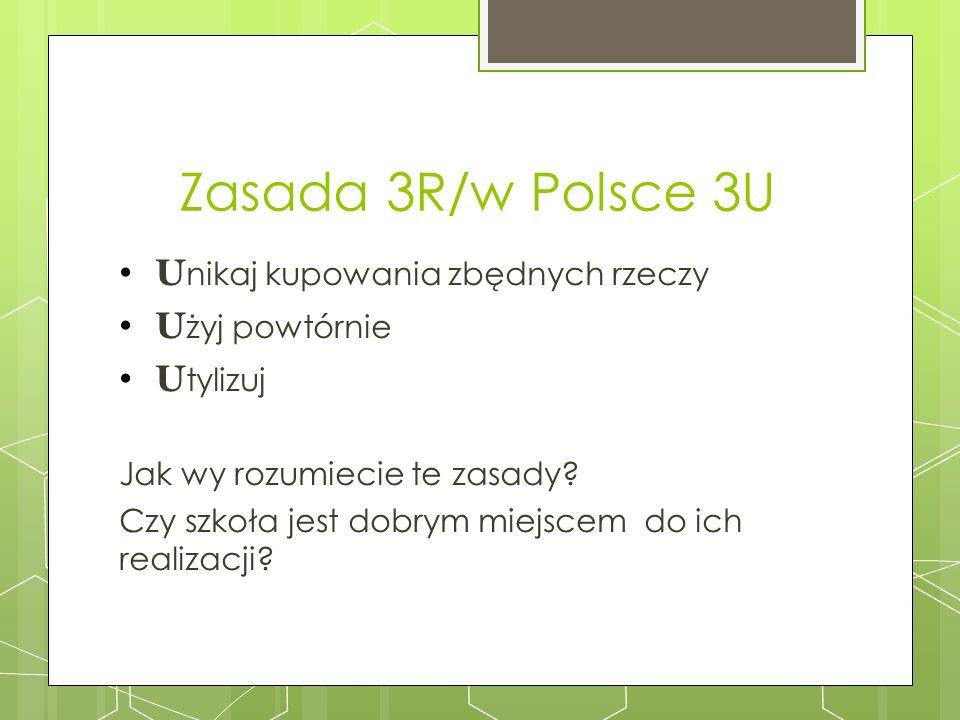 Zasada 3R/w Polsce 3U Unikaj kupowania zbędnych rzeczy Użyj powtórnie