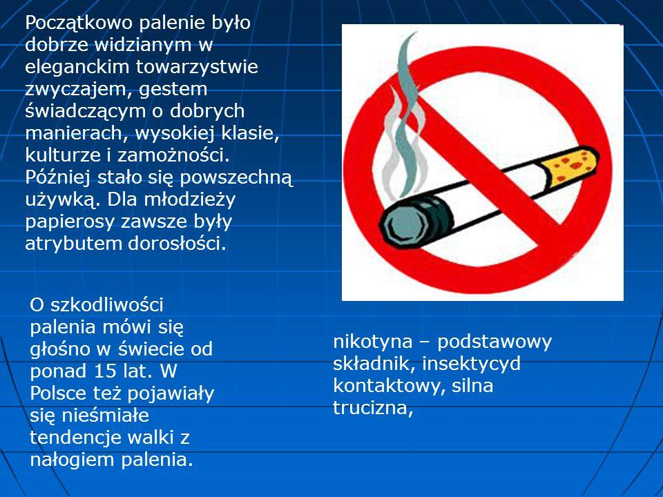 Początkowo palenie było dobrze widzianym w eleganckim towarzystwie zwyczajem, gestem świadczącym o dobrych manierach, wysokiej klasie, kulturze i zamożności. Później stało się powszechną używką. Dla młodzieży papierosy zawsze były atrybutem dorosłości.