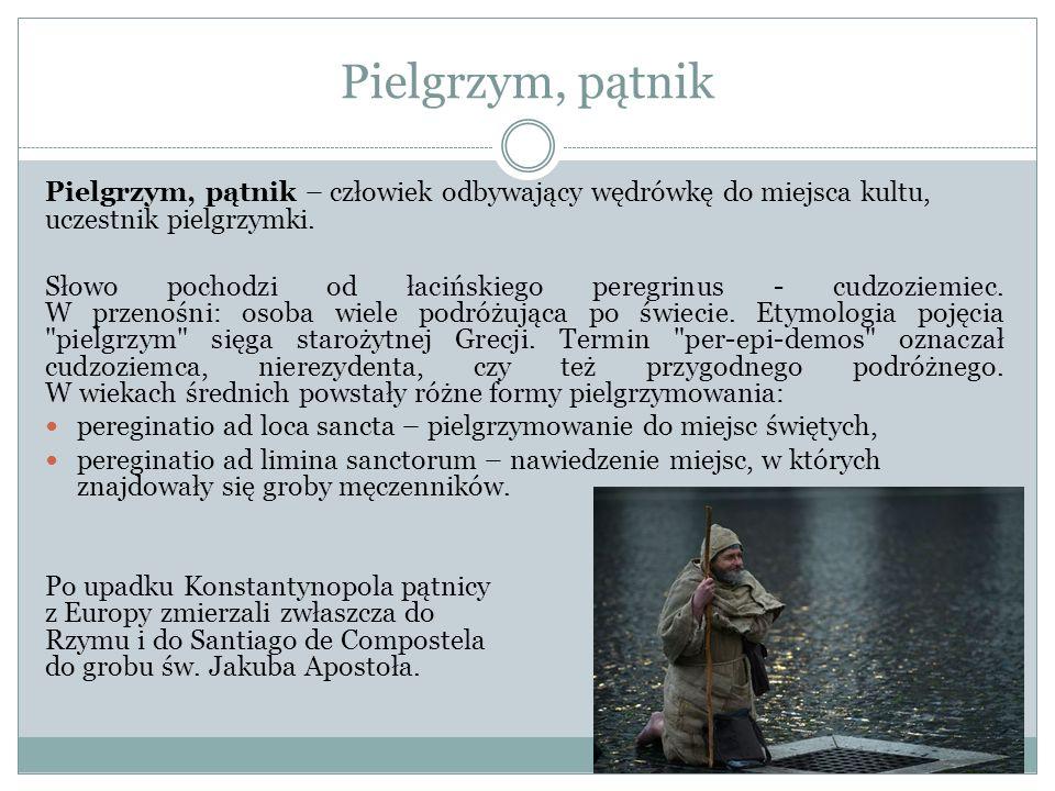 Pielgrzym, pątnik Pielgrzym, pątnik – człowiek odbywający wędrówkę do miejsca kultu, uczestnik pielgrzymki.