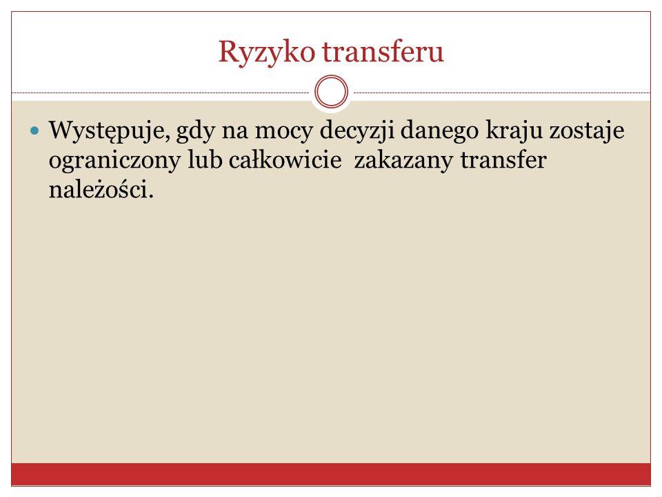 Ryzyko transferu Występuje, gdy na mocy decyzji danego kraju zostaje ograniczony lub całkowicie zakazany transfer należości.