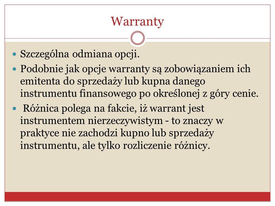 Warranty Szczególna odmiana opcji.