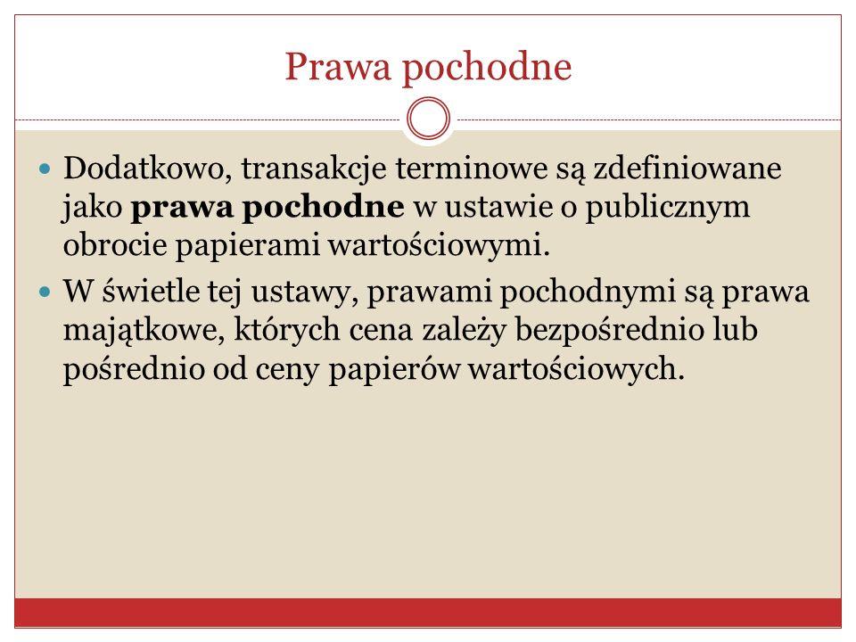 Prawa pochodne Dodatkowo, transakcje terminowe są zdefiniowane jako prawa pochodne w ustawie o publicznym obrocie papierami wartościowymi.