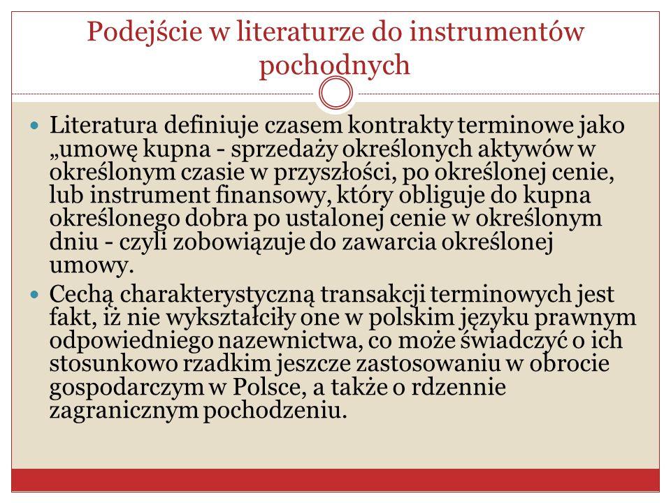 Podejście w literaturze do instrumentów pochodnych