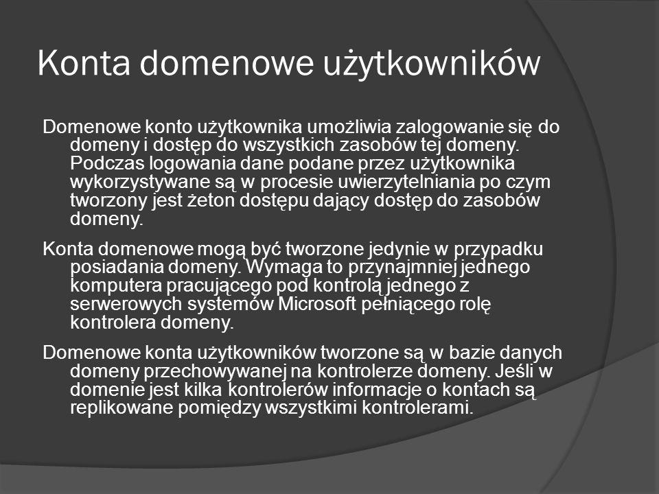 Konta domenowe użytkowników