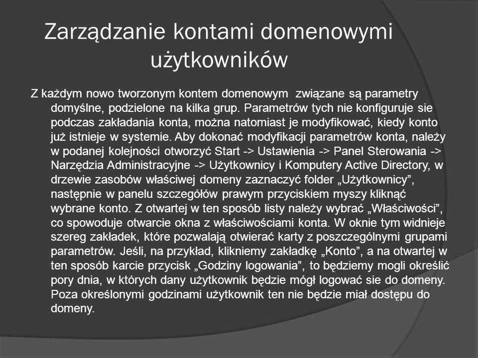 Zarządzanie kontami domenowymi użytkowników