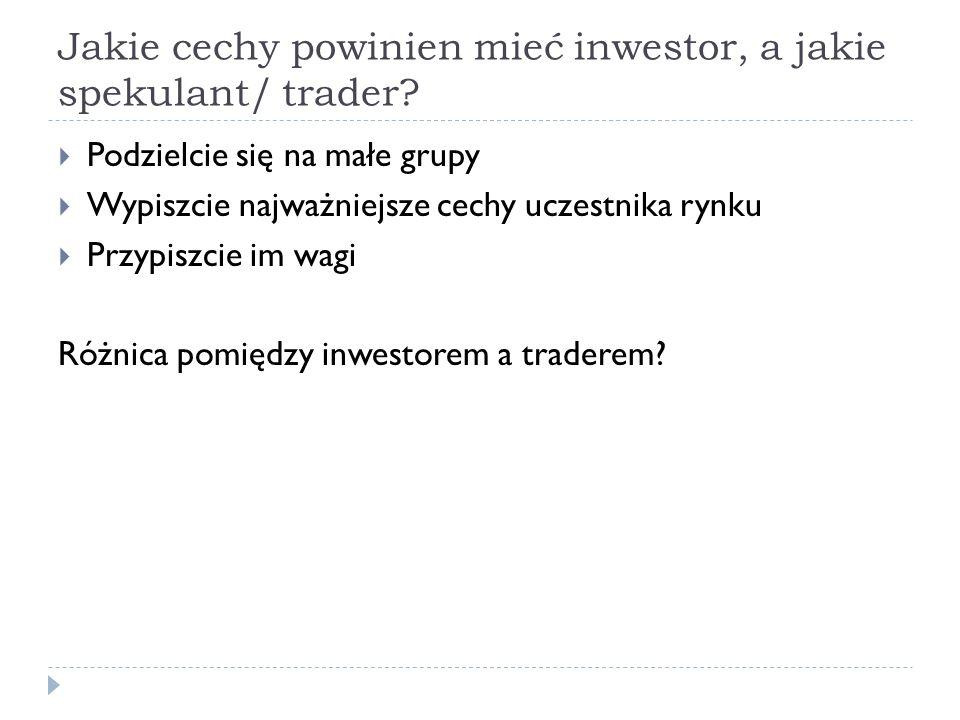 Jakie cechy powinien mieć inwestor, a jakie spekulant/ trader