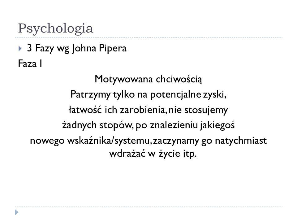 Psychologia 3 Fazy wg Johna Pipera Faza I Motywowana chciwością