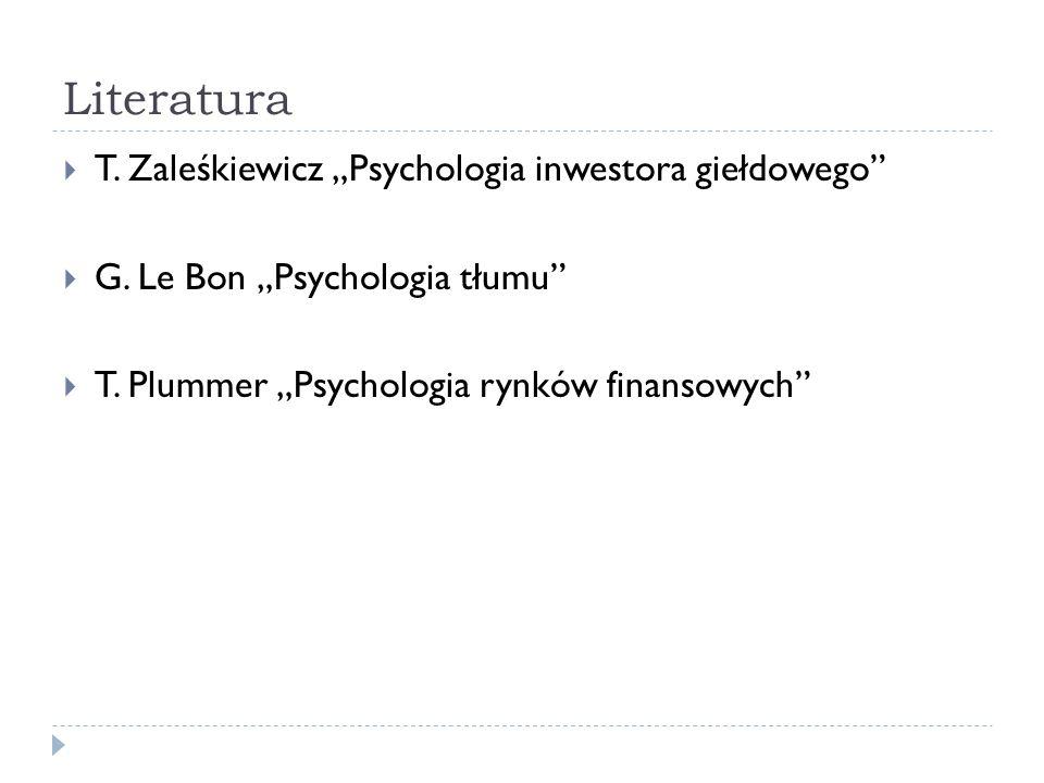 """Literatura T. Zaleśkiewicz """"Psychologia inwestora giełdowego"""