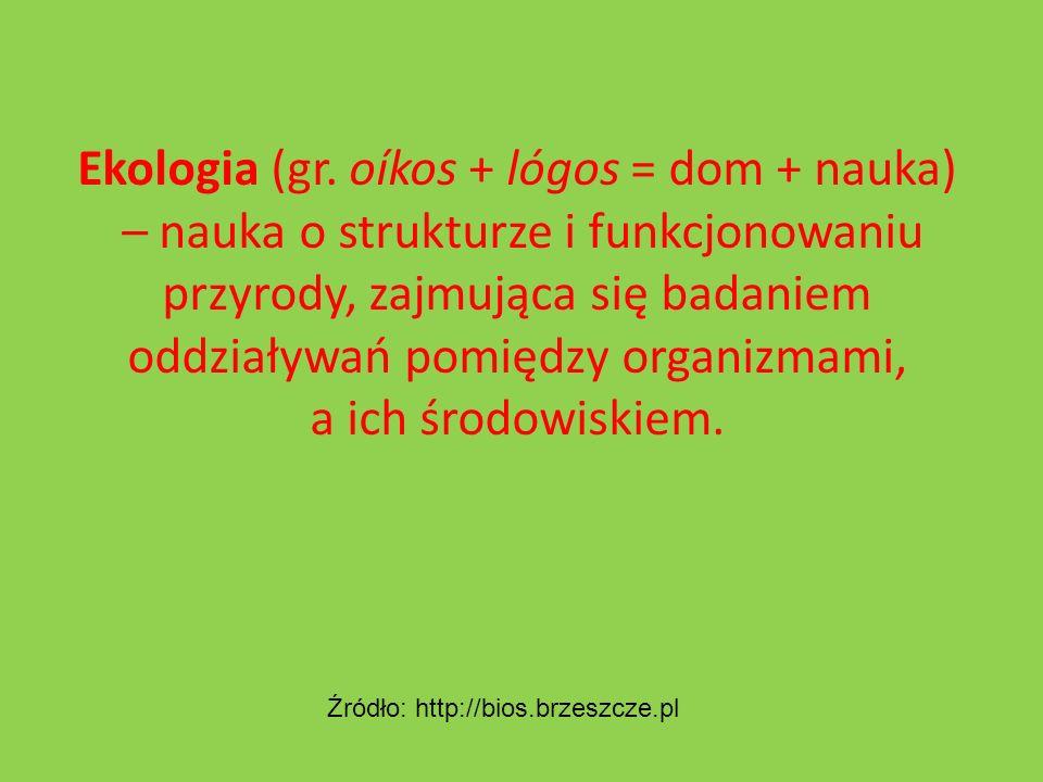 Ekologia (gr. oíkos + lógos = dom + nauka)