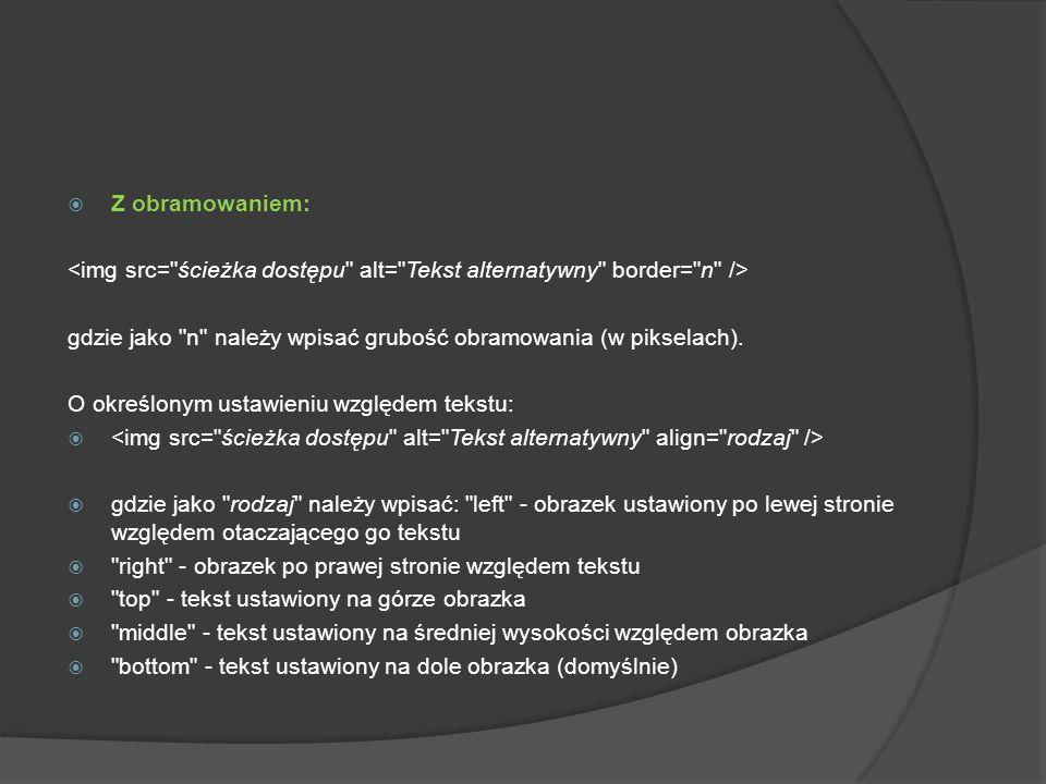 Z obramowaniem:<img src= ścieżka dostępu alt= Tekst alternatywny border= n /> gdzie jako n należy wpisać grubość obramowania (w pikselach).