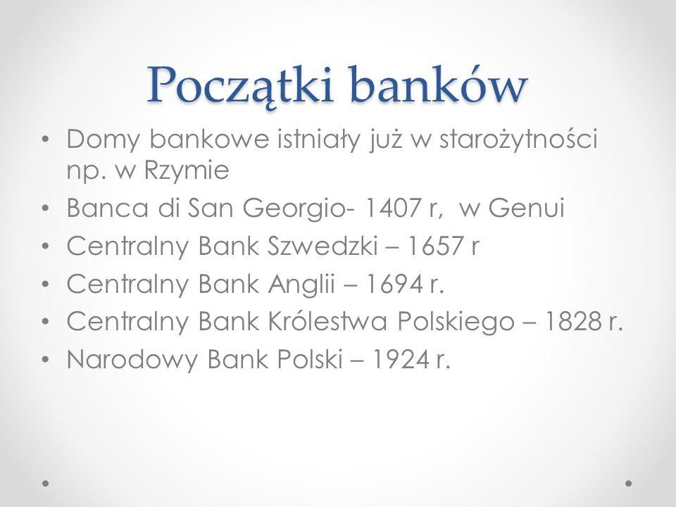 Początki banków Domy bankowe istniały już w starożytności np. w Rzymie