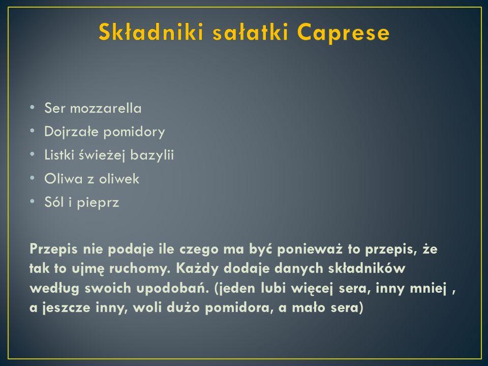 Składniki sałatki Caprese