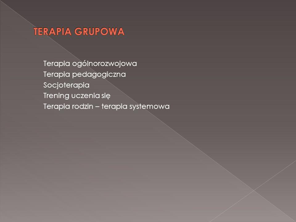 TERAPIA GRUPOWA Terapia ogólnorozwojowa Terapia pedagogiczna Socjoterapia Trening uczenia się Terapia rodzin – terapia systemowa