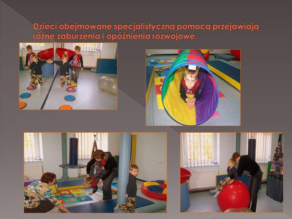 Dzieci obejmowane specjalistyczną pomocą przejawiają różne zaburzenia i opóźnienia rozwojowe.