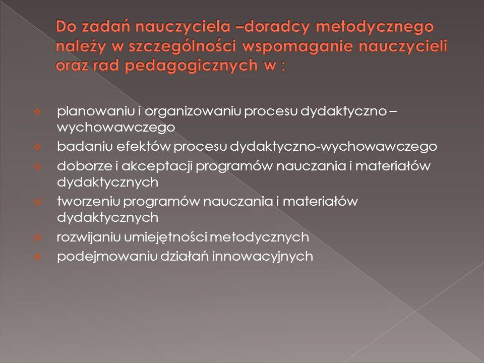 Do zadań nauczyciela –doradcy metodycznego należy w szczególności wspomaganie nauczycieli oraz rad pedagogicznych w :