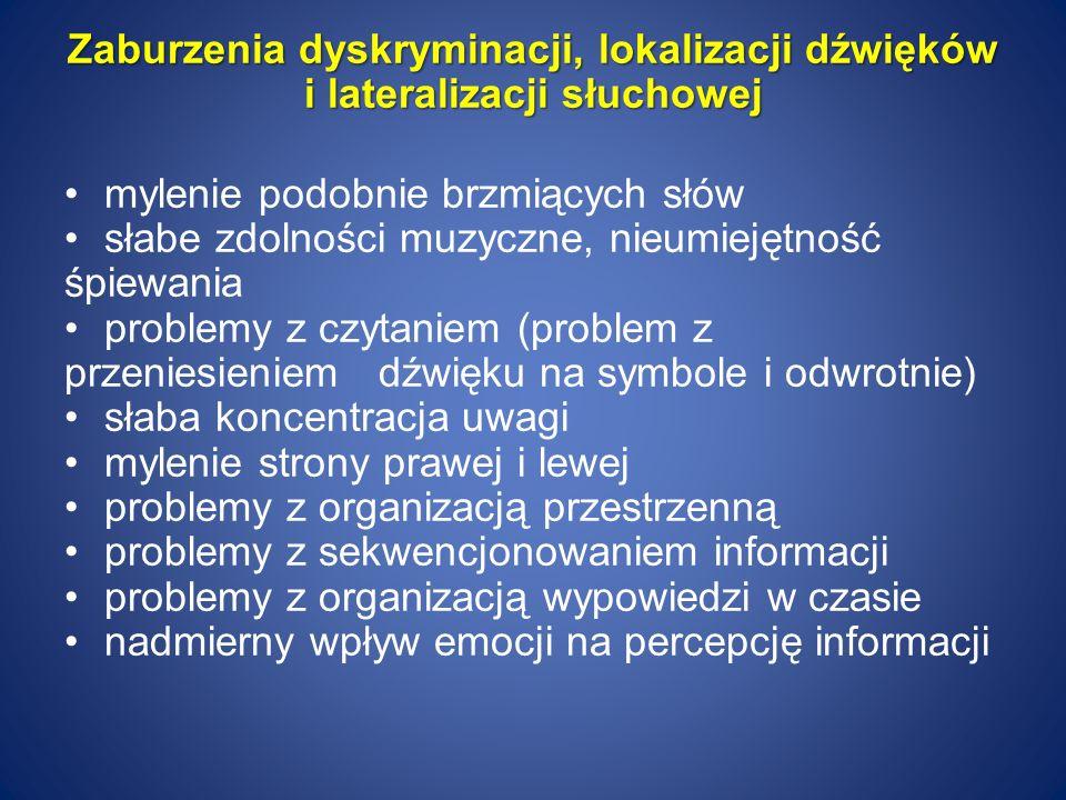 Zaburzenia dyskryminacji, lokalizacji dźwięków i lateralizacji słuchowej