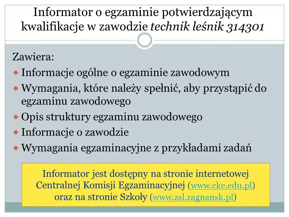 Informator o egzaminie potwierdzającym kwalifikacje w zawodzie technik leśnik 314301