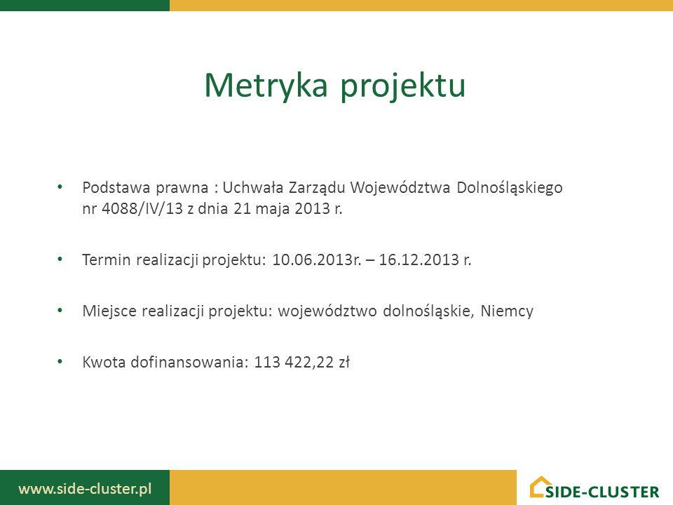 Metryka projektu Podstawa prawna : Uchwała Zarządu Województwa Dolnośląskiego nr 4088/IV/13 z dnia 21 maja 2013 r.
