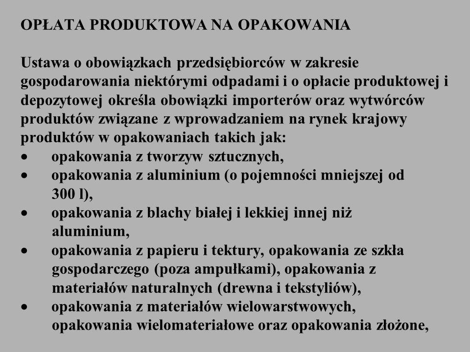 OPŁATA PRODUKTOWA NA OPAKOWANIA Ustawa o obowiązkach przedsiębiorców w zakresie gospodarowania niektórymi odpadami i o opłacie produktowej i depozytowej określa obowiązki importerów oraz wytwórców produktów związane z wprowadzaniem na rynek krajowy produktów w opakowaniach takich jak: · opakowania z tworzyw sztucznych, · opakowania z aluminium (o pojemności mniejszej od 300 l), · opakowania z blachy białej i lekkiej innej niż aluminium, · opakowania z papieru i tektury, opakowania ze szkła gospodarczego (poza ampułkami), opakowania z materiałów naturalnych (drewna i tekstyliów), · opakowania z materiałów wielowarstwowych, opakowania wielomateriałowe oraz opakowania złożone,