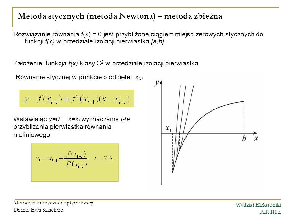 Metoda stycznych (metoda Newtona) – metoda zbieżna