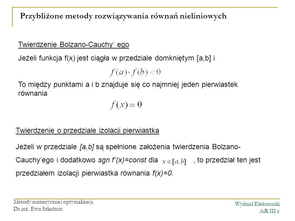 Przybliżone metody rozwiązywania równań nieliniowych