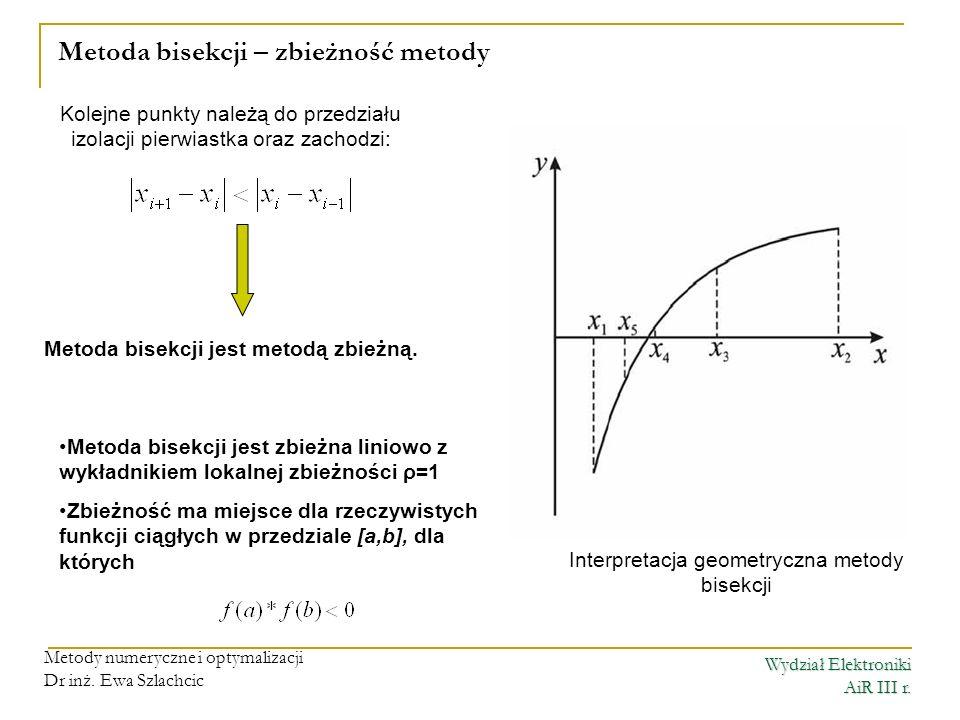 Metoda bisekcji – zbieżność metody