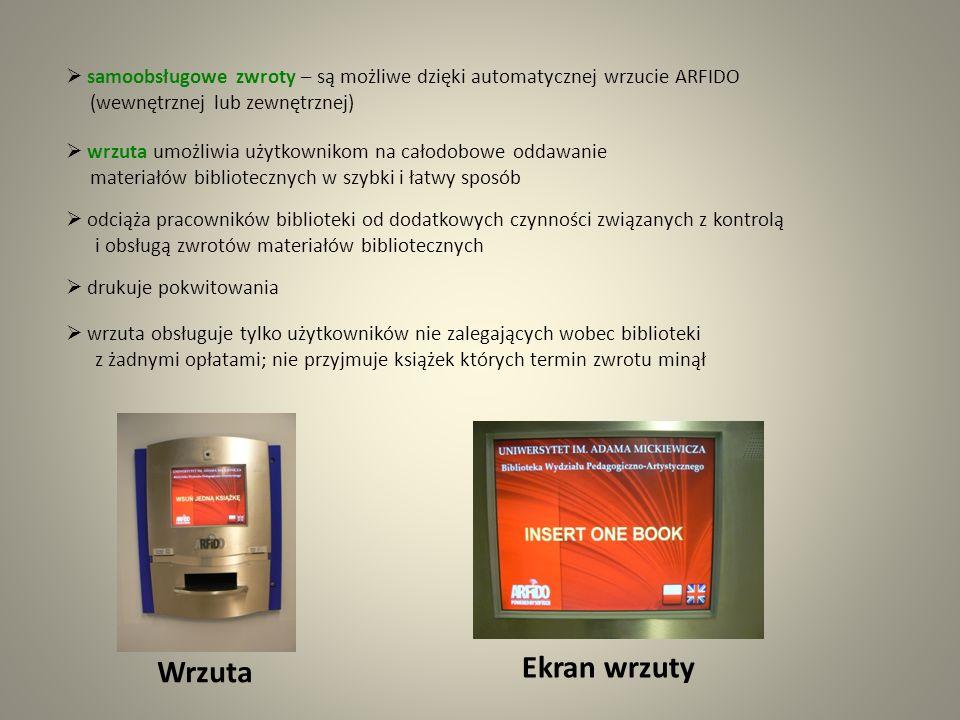 samoobsługowe zwroty – są możliwe dzięki automatycznej wrzucie ARFIDO (wewnętrznej lub zewnętrznej)